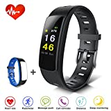 FUNTOK Fitness Tracker Smart Armband mit Herzfrequenzmesser Bluetooth GPS Wasserdicht IP67 Temperatur Wetter Schrittzähler Kalorienzähler Uhr Pulsuhren für Android iOS Smartphones