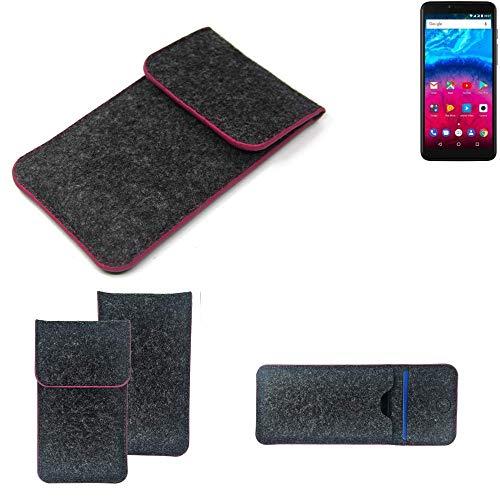 K-S-Trade® Filz Schutz Hülle Für Archos Core 57S Schutzhülle Filztasche Pouch Tasche Case Sleeve Handyhülle Filzhülle Dunkelgrau Rosa Rand