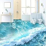 Rureng Benutzerdefinierte Selbstklebende Boden Wandbild Tapete Moderne Sea Wave 3D Bodenfliesen Aufkleber Badezimmer Schlafzimmer Pvc Wasserdichte Wandpapier