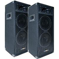 "2x 500W DJ PARTY Lautsprecher Boxen Paar - doppel 8"" Bass - E-Lektron PW220"