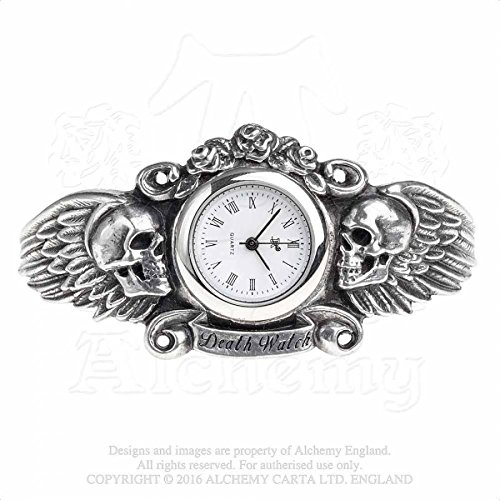 Alchemy Gothic-Inghilterra-Cuore di Lazarus-Gothic dark angel Winged Skull Bracciale Orologio da polso