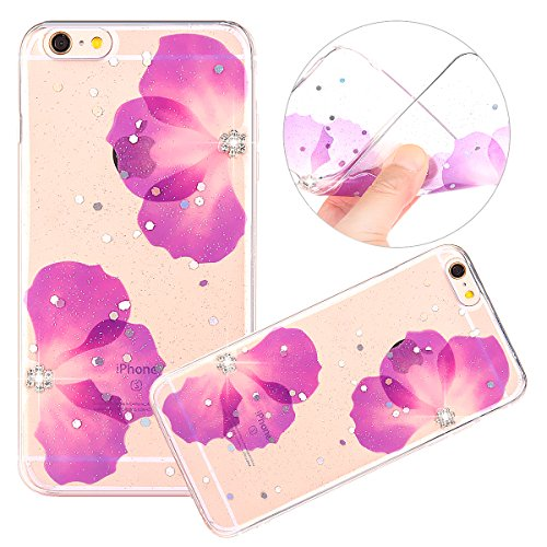 Cover iPhone 6 / 6S - Custodia in Glitter Silicone TPU - Surakey Belle iPhone 6S Custodia Brillantini Fiore Bling Diamante Trasparente Slim Ultra Sottile Gomma Morbida Gel Case Antigraffio Antiurto Fl Fiore Porpora