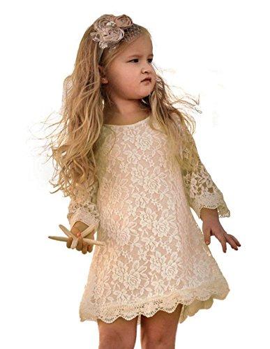 Cutiego Mädchen Blumen-Kleid Rustikale Blumen-Kleid 4T Sahne 4t Kleid