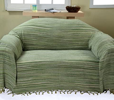 Homescapes Bed Sofa Throw Cotton Chenille Tie and Dye Green 150 x 200 cm or 60 x 79 inches
