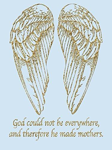 """'""""Gott kann nicht überall sein und somit ER, die Mütter"""" Zitat gold Engel Flügel von Kelissa SEMPLE auf verpackt Leinwand (12x 16)"""