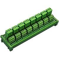 electronics-salon DIN Rail Mount steckbar 8x 3Position 10A/300V Schraubklemmen Block Verteilung Modul. (Seite Draht verbindet)