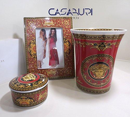 VERSACE. Set 3pz Medusa red (vase cm 18 h + Bilderrahmen cm 23 x18 + Dose cm 10 h 7,5 cm Medusa Red