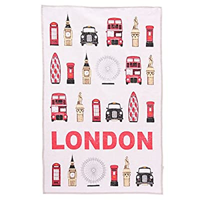 London Landmarks Tea Towel, 100% Cotton, By Ted Smith