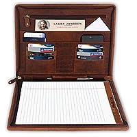 Business Portfolio Leather Leather Folder For Men Women gift for him her (Brown)