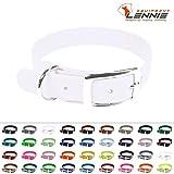 LENNIE BioThane Halsband, Dornschnalle, 25 mm breit, Größe 38-46 cm, Weiß, Aufdruck möglich, 4 Größen, viele Farben, Hundehalsband