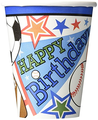 Sports Superstar Birthday Party Paper Cups , Pack of 8, Multi , 9 Ounces, Paper by TradeMart Inc.