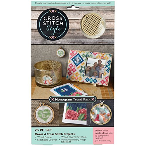 - 3 Birds 60060 Wood Monogram Trend Pack Punched For Cross Stitch Kit by 3 Birds