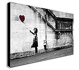 FAB Banksy–Balloon Girl–There is always hope–Leinwand gerahmt Wall Art–verschiedene Größen, holz, schwarz/weiß, A0 47x33 inch