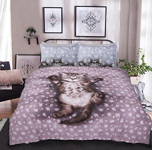 eirene threadz Ellephant & Cat & Einhorn Gedruckt Polycotton Bettbezug Sets Kissen Betten Sets, Cute Kitten, King Size (King-size-bett Kissen)