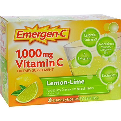 Emergen C Lemon Lime Health and Energy Booster Fizzy Drink Mix, 1000 Mg - 30 packet per pack -- 3 packs per case. by Emergen-C