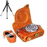 First2savvv XJPT-G9X-09G6 braun Ganzkörper- präzise Passform PU-Leder Kameratasche Fall Tasche Cover für Canon PowerShot G9X G9 X mit Mini-Stativ
