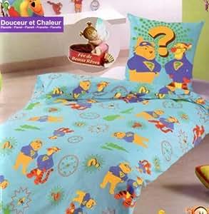 Parure de lit Housse de couette Disney Winnie l'Ourson Flanelle Douceur et Chaleur + taie d'oreiller - Duvet Cover