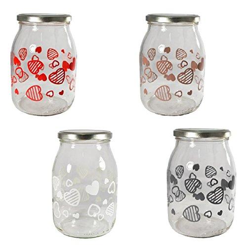Giosal Vase Glas verziert Herzen verschiedenen Abmessungen Zuhause verschiedene Farben 39ClØ82 rot (Vase Glas Herz Rot)