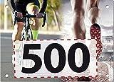 500 Startnummern Duathlon, Papier classic-race, Format 20 x 14,5 cm (ca. DIN A5), nummeriert von Nummer 1