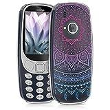 kwmobile Coque Nokia 3310 (2017) - Coque pour Nokia 3310 (2017) - Housse de téléphone en Silicone Bleu-Fuchsia-Transparent