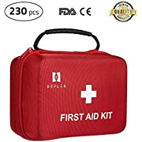 First aid kit, Defler 230pcs First Aid Kit for Emergency and Survival Situations. Ideal for The Car, Camping, Hiking, Travel, Office, Sports, Pets, Hunting, Home