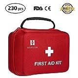 Erste-Hilfe-Kit, Defler 230pcs Erste-Hilfe-Kit für Not-und Überlebenssituationen. Ideal für das Auto, Camping, Wandern, Reisen, Büro, Sport, Haustiere, Jagd, Haus