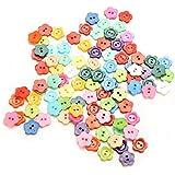 Generic Random Color 100Pcs Flower Pattern 10mm DIY Buttons Sewing Clothes Button