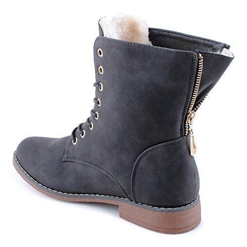 Damen Schnür Stiefeletten Biker Boots Stiefel Warm Gefütterte Schuhe Grau/gefüttert EU 38