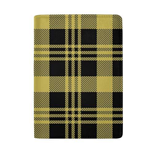 Nette gelbe Gitter, die Druck-Pass-Halter-Abdeckungs-Fall-Reisegepäck-Pass-Mappen-Kartenhalter blockieren, machten mit Leder für Mann-Frauen-Kind-Familie -