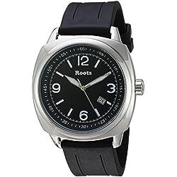 Roots Men's 'Core' Quartz Stainless Steel and Rubber Casual Watch, Color:Black (Model: 1R-PR100BA1B)