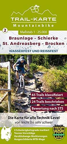 MTB Trail-Karte Harz: Braunlage – Schierke – St. Andreasberg – Brocken: Nr. 2 | Wasser- und reißfeste Mountainbike-Karte