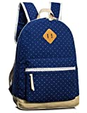 Leaper Casual Style Lightweight Canvas Laptop Backpack Cute Travel School College Shoulder Bag/Bookb