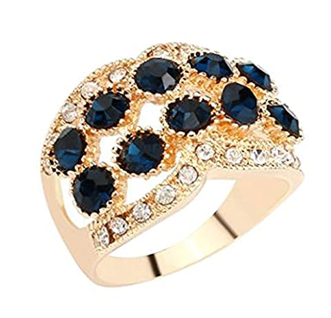 SaySure - 18K Gold Filled Rings White & Black (SIZE : 9)
