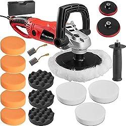 TecTake® Profi Poliermaschine 1600 Watt mit Drehgriff + Set7