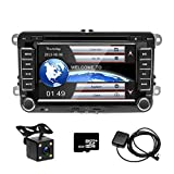 camecho Doppel DIN 17,8 cm Auto CD DVD Player GPS Sat Nav Stereo Touchscreen Autoradio für VW / Passat / Golf / Transporter T5 + 4 LED Mini Kamera Night Vision