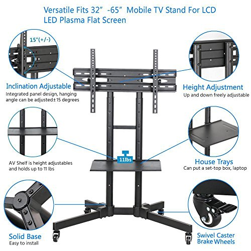 Popamazing 32 65 Universal Tv Carts Stand With Wheels Mobile Tv Trolley Floor Stand With Mount For Led Lcd Plasma Flat Screen Height Adjustable Uk Tv Electronics