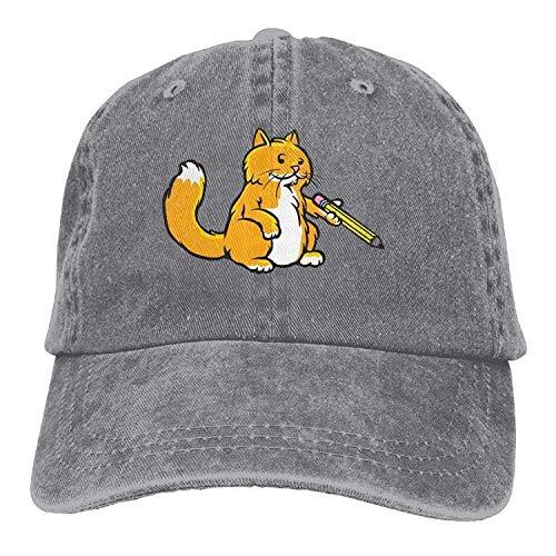 (GHEDPO Cat Teacher Denim Baseball Caps Hat Adjustable Cotton Sport Strap Cap for Men Women)