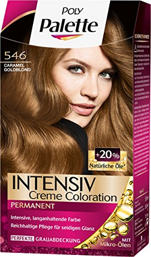 Palette Intensiv Creme Coloration 546 Caramel Goldblond Stufe 3, 3er Pack (3 x 115 ml)