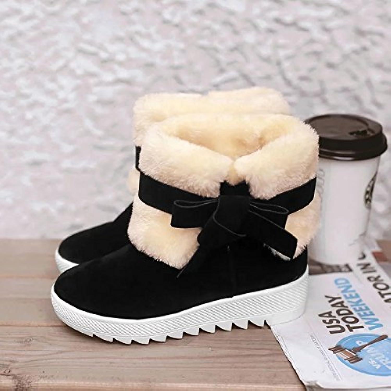 Botas de nieve calientes en el tubo plano zapatos de mujer ocasionales botas femeninas, negro, 40 EU