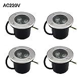 Goodia 4Stk. 3W Bodeneinbaustrahler Led 230V AC IP65 270Lumen Gartenbeleuchtung lampFür Aussen (warmweiß)