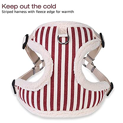 PETBABA Christmas Dog Harness, Soft Fleece Vest Warm Puppy in Winter, Front Clip Provide No Pull Choke Free Walk, Bow… 3