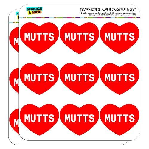 5cm (5,1cm) Scrapbooking, Aufkleber I love Herz Hunde d-m Mutts (Mutt-aufkleber)