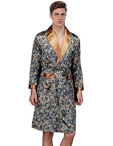 Waymoda Men's Luxury Silky Satin Evening Dressing Gown, Male Classic Elegant Paisley Pattern Kimono Wrap (Polka Peluche)