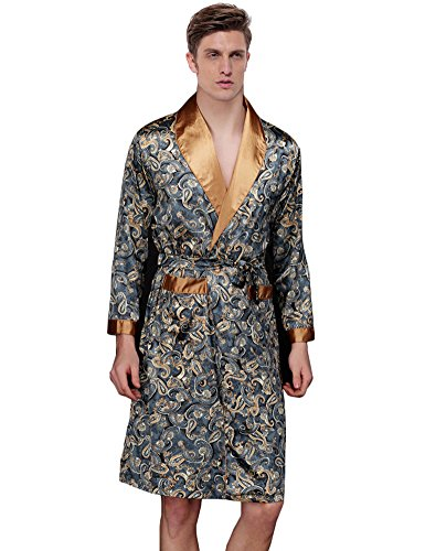Waymoda Men's Luxury Silky Satin Evening Dressing Gown, Male Classic Elegant Paisley Pattern Kimono Wrap Robe, Various Colors, 3 Sizes Optional - Long style (Leibchen Anzug Satin)