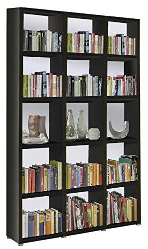 Bücherregal Raumteiler READY 53R in Schwarz mit Rückwand in Alpineweiß