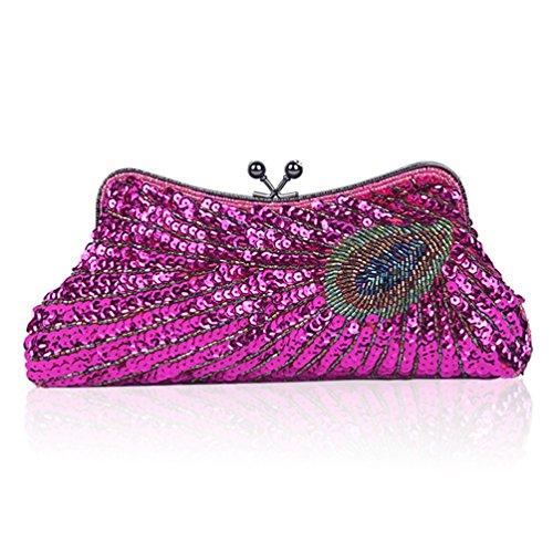 YAN Damen Taschen Pailletten Peacock Clutch glänzende Handtasche Hochzeit Perlen Strass Handtasche Abendtasche All Seasons (Style : 2) -