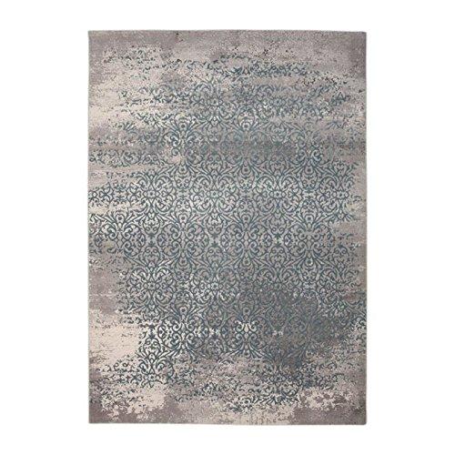 Designer Teppich Moderner Teppich Wollteppich Meliert Wohnzimmer Teppich Wollteppich Ornament Türkis Grau Größe 160x230 cm