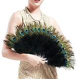 ArtiDeco Pfau Feder Fächer Schwarz Marabou Feder Fächer 1920s Vintage Stil Retro Handfächer Damen Gatsby Kostüm Flapper Zubehör (Schwarz)