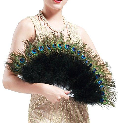 ArtiDeco Pfau Feder Fächer Schwarz Marabou Feder Fächer 1920s Vintage Stil Retro Handfächer Damen Gatsby Kostüm Flapper Zubehör ()