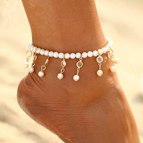 Chicer Quasten-Fußkettchen für Strand, für Damen und Mädchen (Gold)